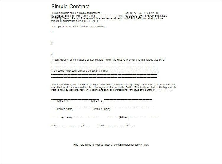 Simple Contract Format Simple Contract Template 9 Download Free - contract agreement format