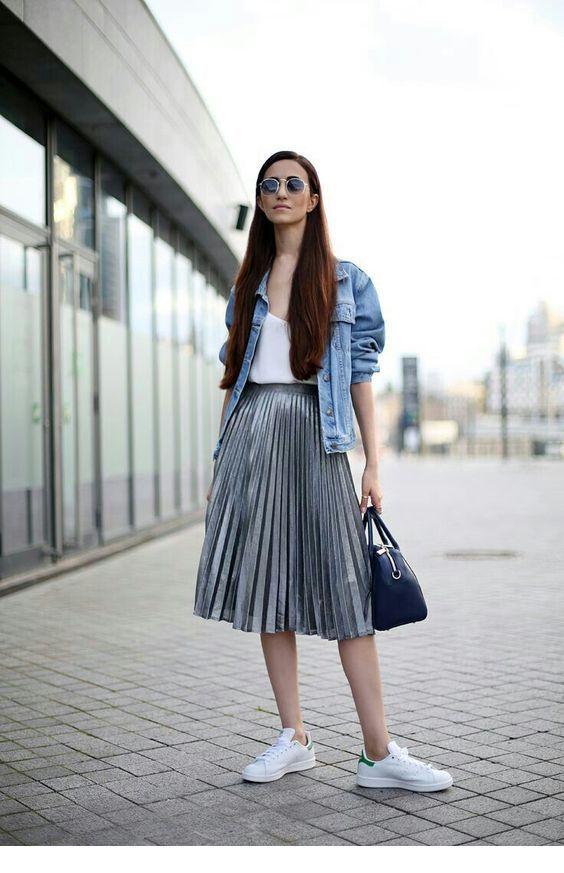 Cool grey midi skirt and oversize denim jacket