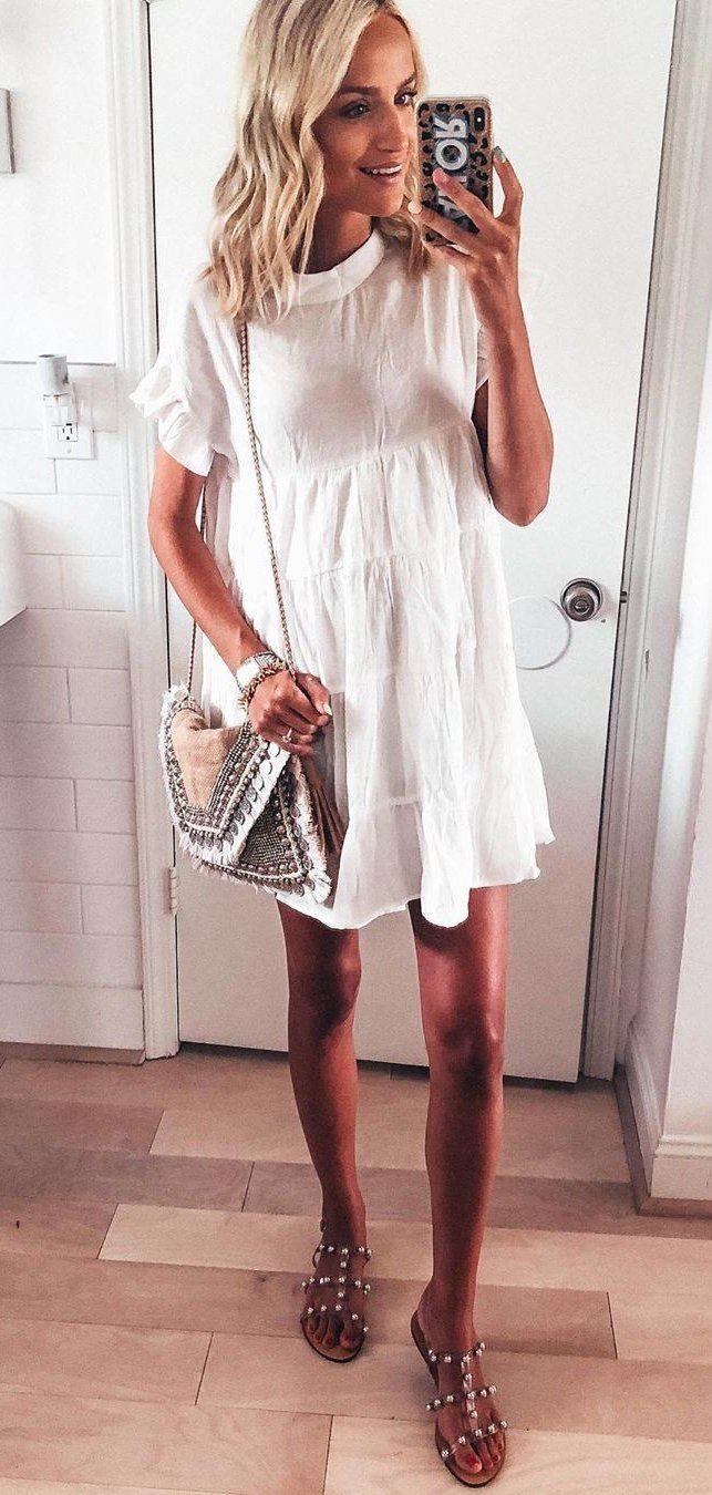 white mini dress #summer #outfits