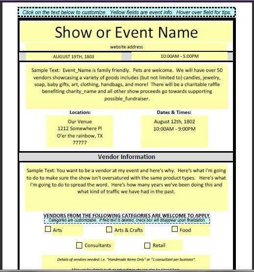 Vendor application form if you are interested in being a for Event vendor application template