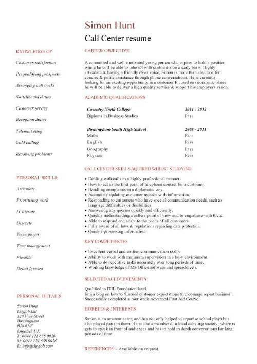 Resume For A Call Center Job Call Center Resume