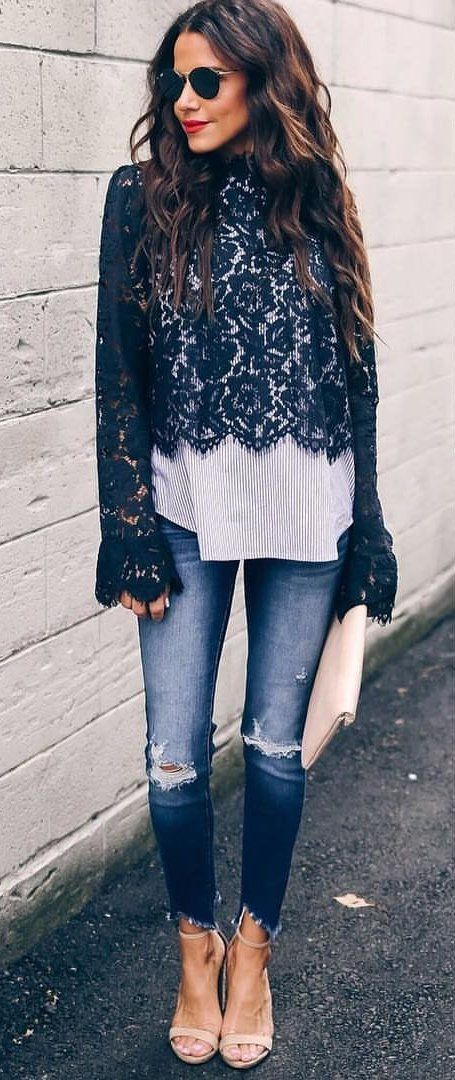 black floral sweater #spring #outfits