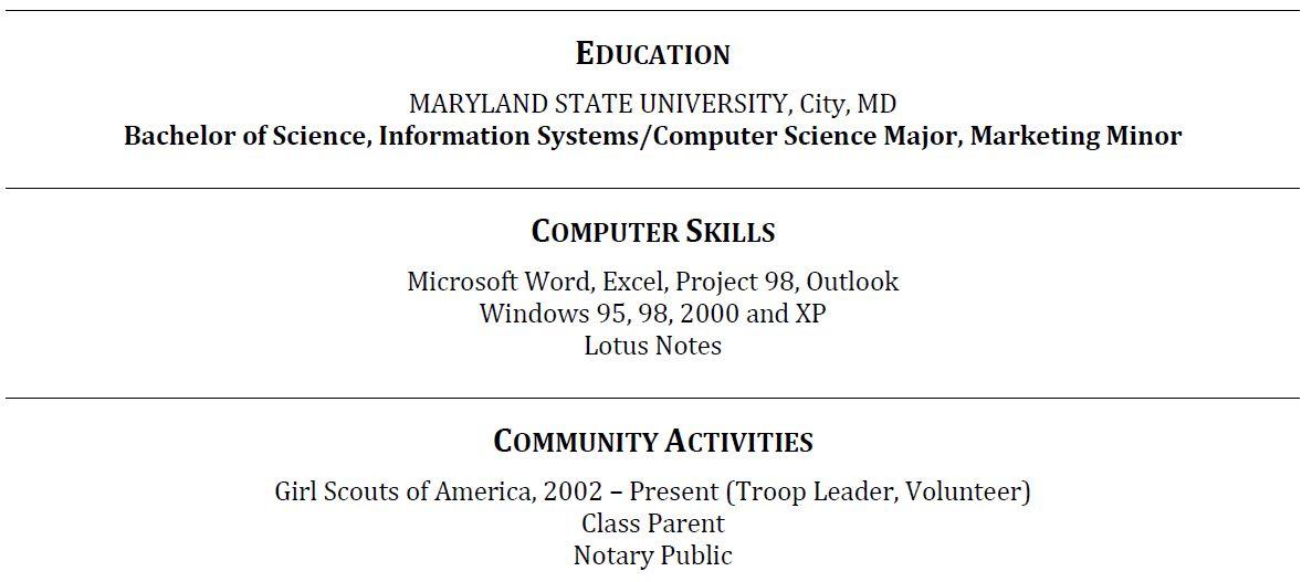 Resume Education Section Example Education Section Resume Writing