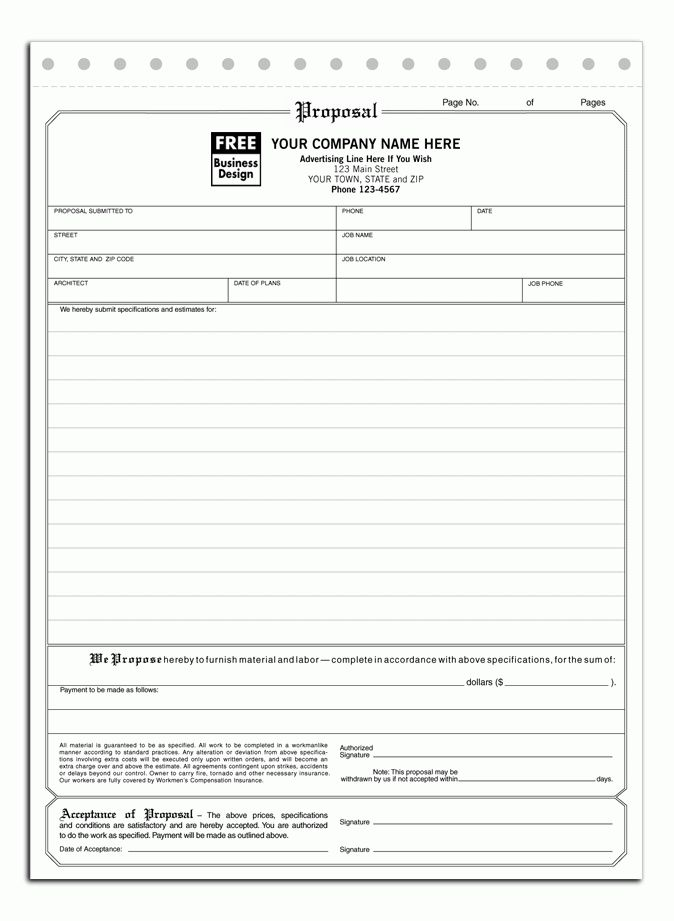 Free Construction Proposal Forms Printable Sample Construction - estimate proposal template