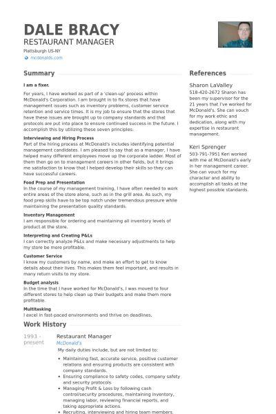 Restaurant Manager Resume Unforgettable Restaurant Manager Resume - restaurant manager resume template