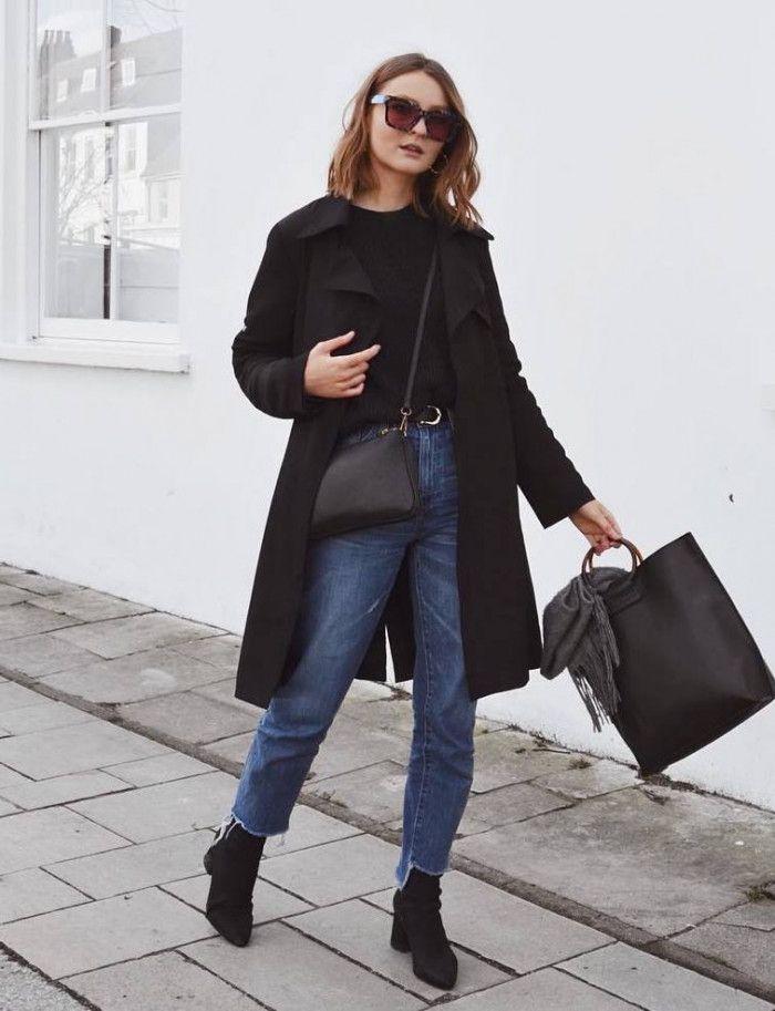 fall trends / black coat jeans bag boots top