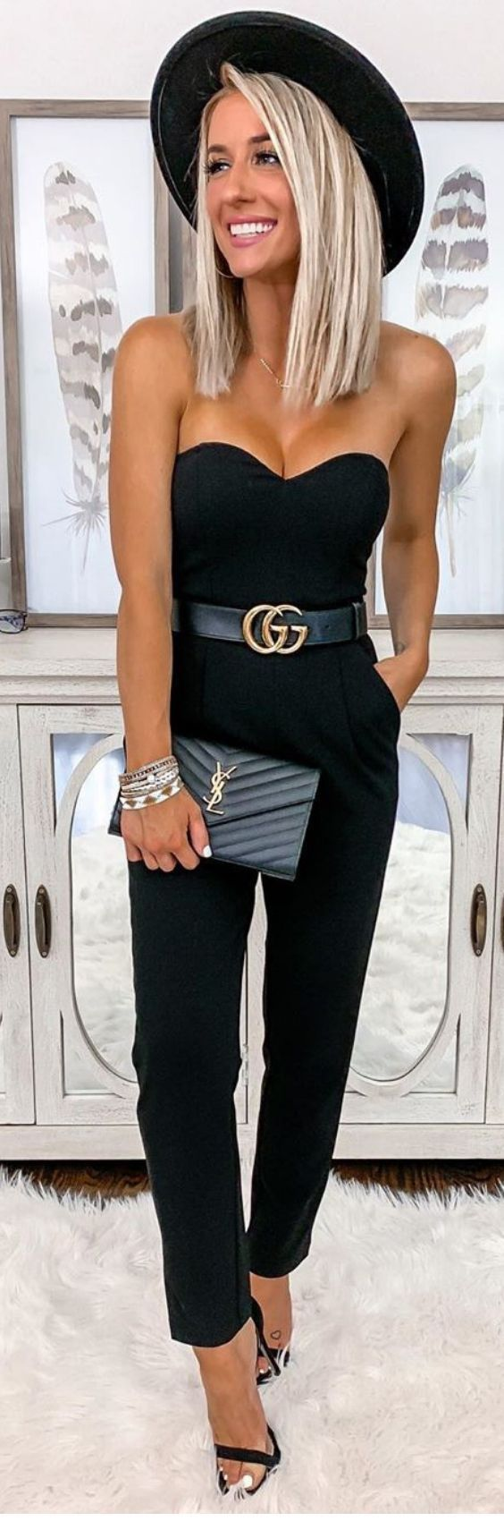 Very chic all black look with jumpsuit and accessories