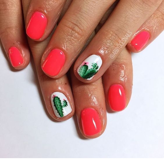 Nice coral nails with some cute summer prints