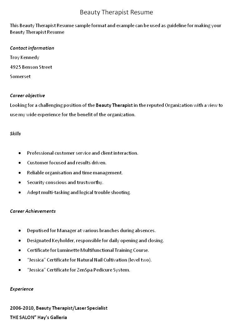 ... Cover Letter For Beauty Therapist Beauty Therapist Cover Letter    Sports Therapist Cover Letter ...