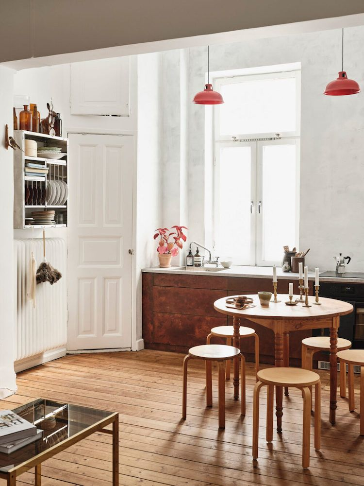 Brown and white vintage kitchen