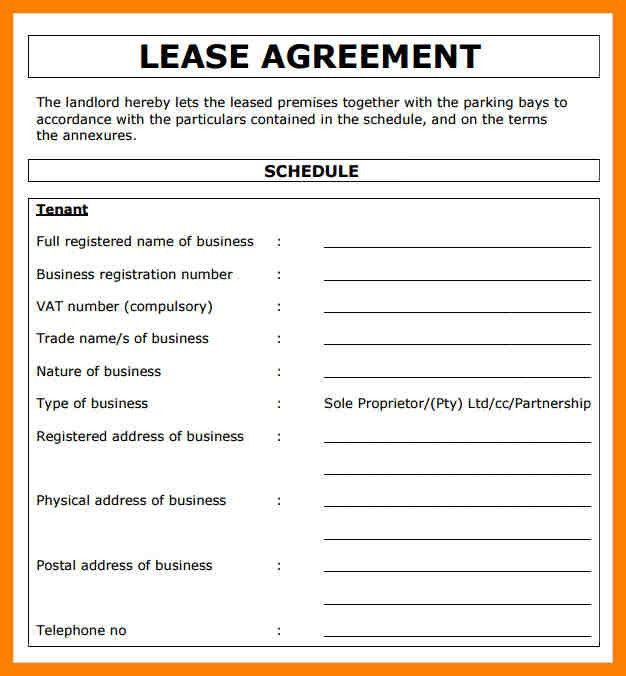 Template For Lease Agreement