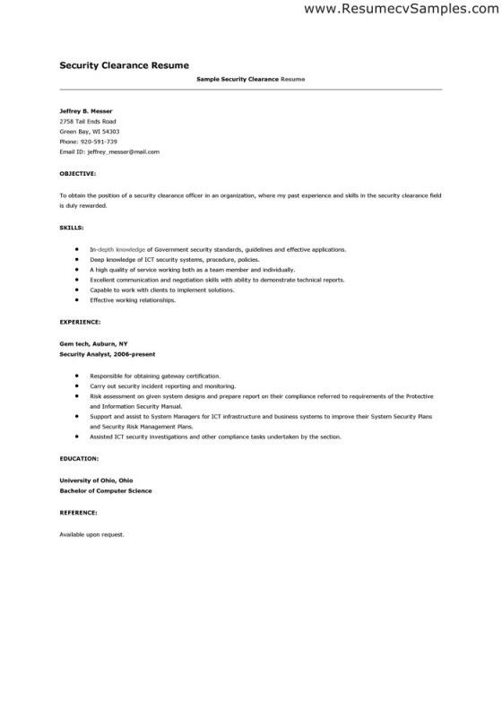 Security Clearance Resume Example - Examples of Resumes