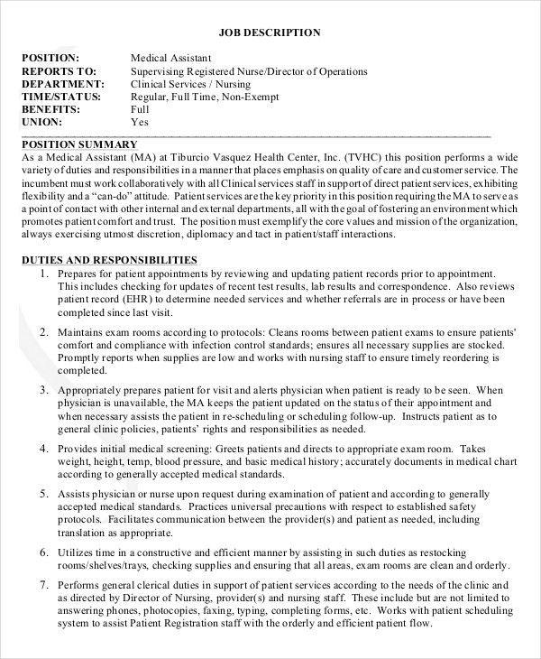 The Duties Of A Medical Assistant Medical Assistant Job - director of nursing job description