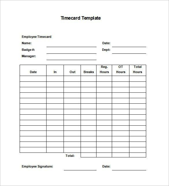 Time Card Template 8 Printable Time Card Templates Free Word - time card calculator