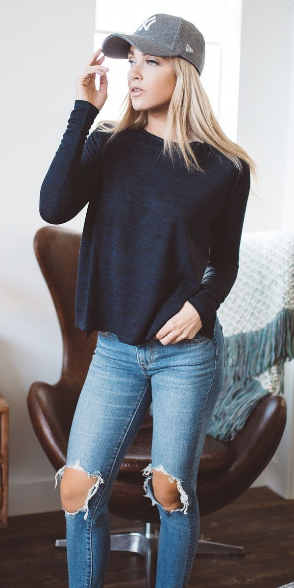 summer outfits Cara Loren Shop Midnight Blue Crewneck