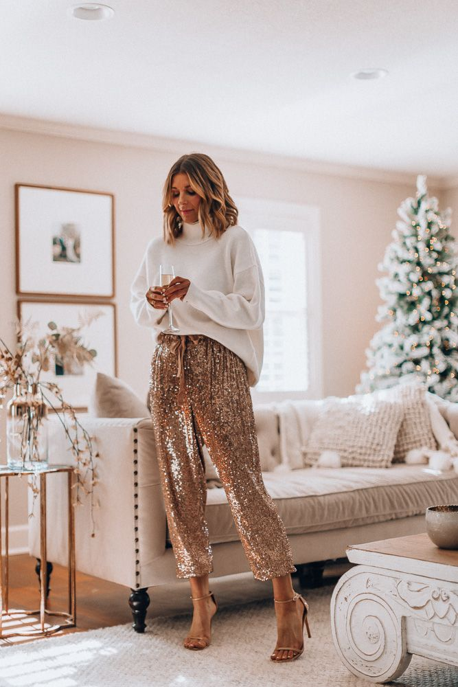 Holiday Party Style // sequin pants and cozy sweater
