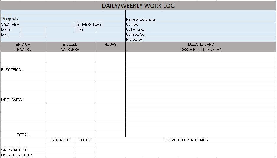 Project Log Template 7 Free Project Log Templates Excel Pdf - time log sample