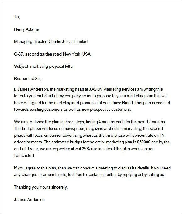 Great Sample Marketing Proposal Template   6+ Documents In PDF, Word, In .. Regarding Marketing Letter Format