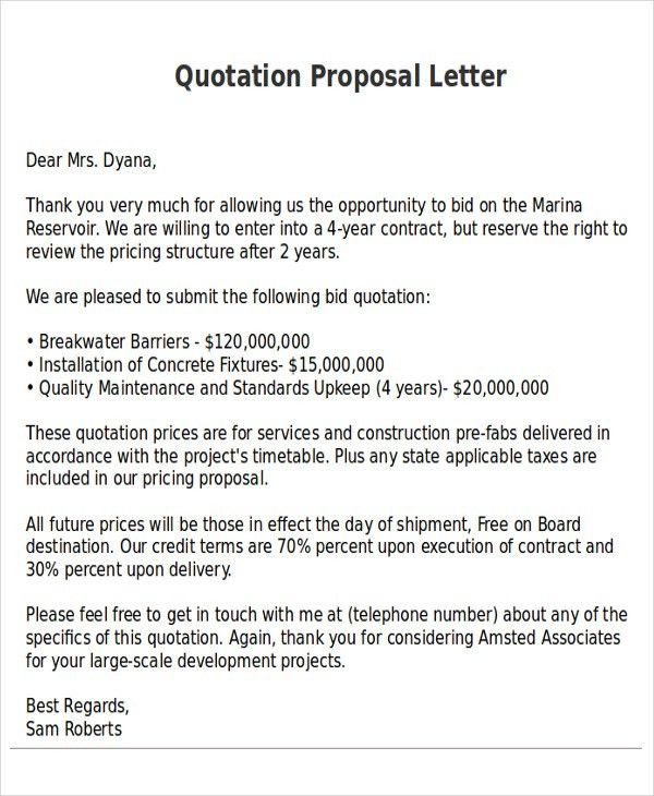 Sample Proposal Quotation quotation template - 44+ documents in - price proposal template