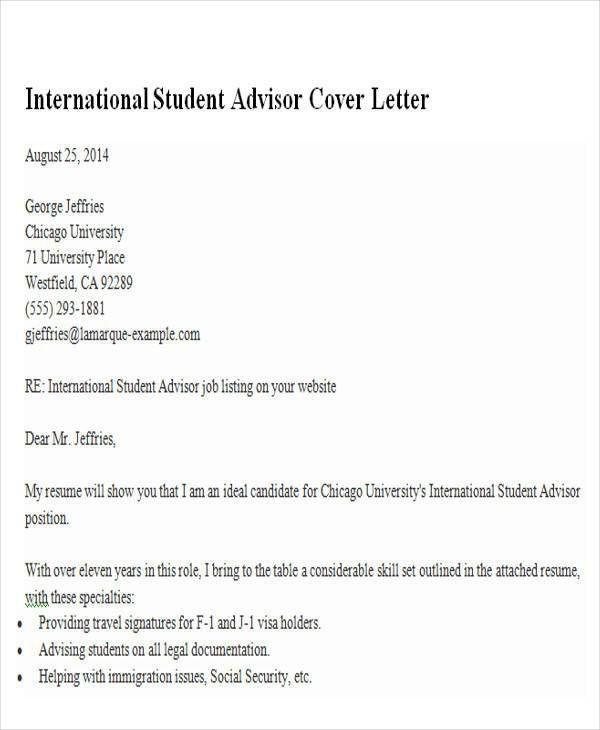 Academic Advising Cover Letter] Free Academic Advisor Cover Letter ...