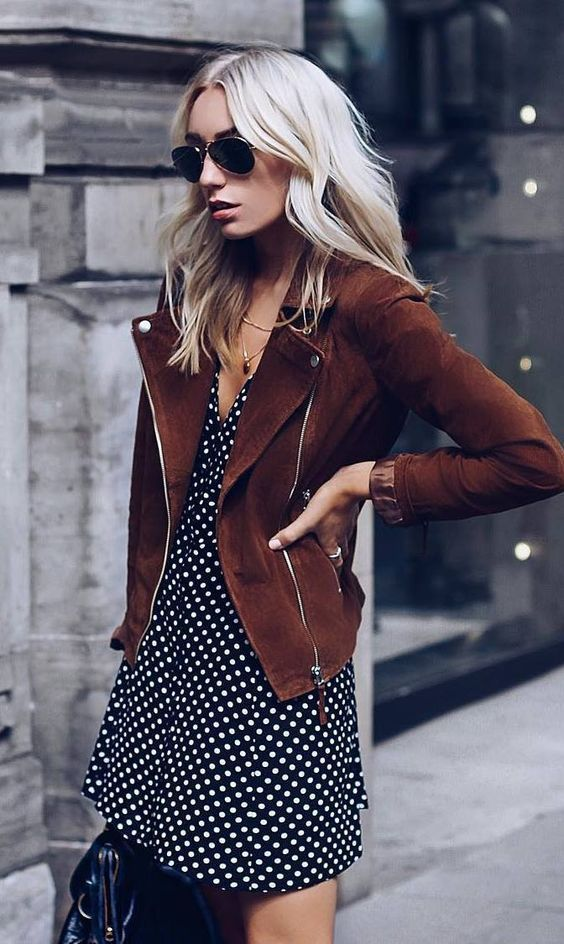 trendy outfit_brown moto jacket + dress + bag