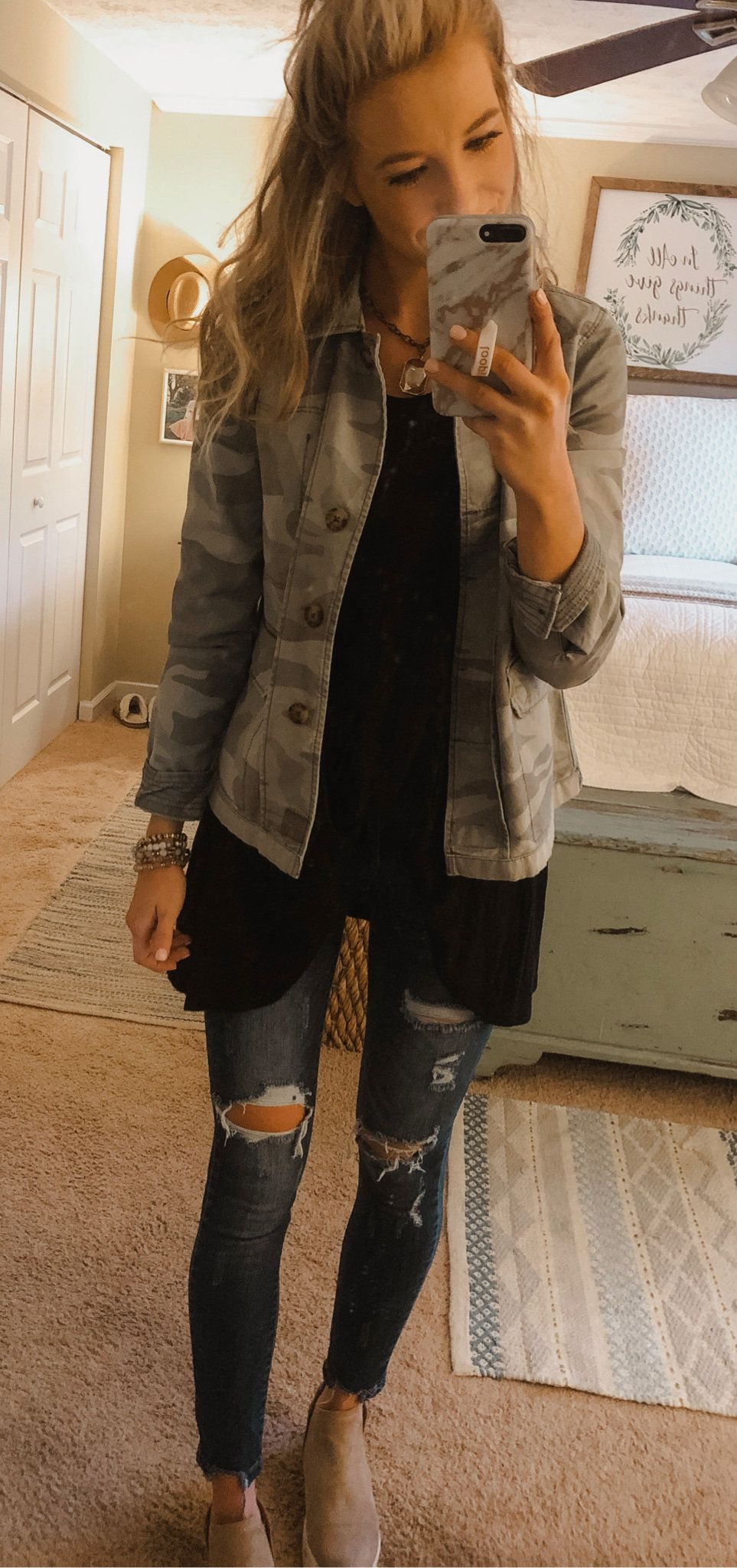 gray and white camouflage button-up jacket #spring #outfits
