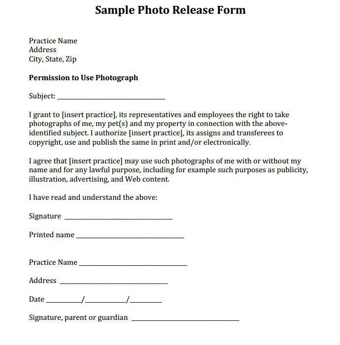 Photo Release Template Photography Release Forms, Photography - sample print release form example