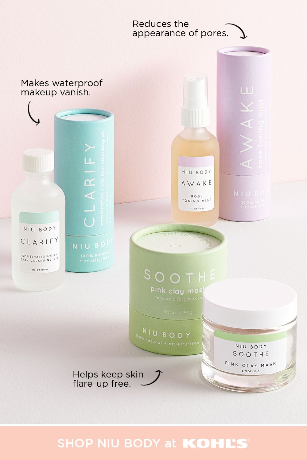 With spring right around the corner, it's the perfect time for a skincare refresh. Looking to try something new? Check out NIU BODY, a natural and vegan line of skincare products, featuring Clarify cleansing oil, Awake rose toning mist, or Soothe clay mask. Shop all things beauty, skincare, haircare and more at Kohl's and Kohls.com. #skincare #beauty