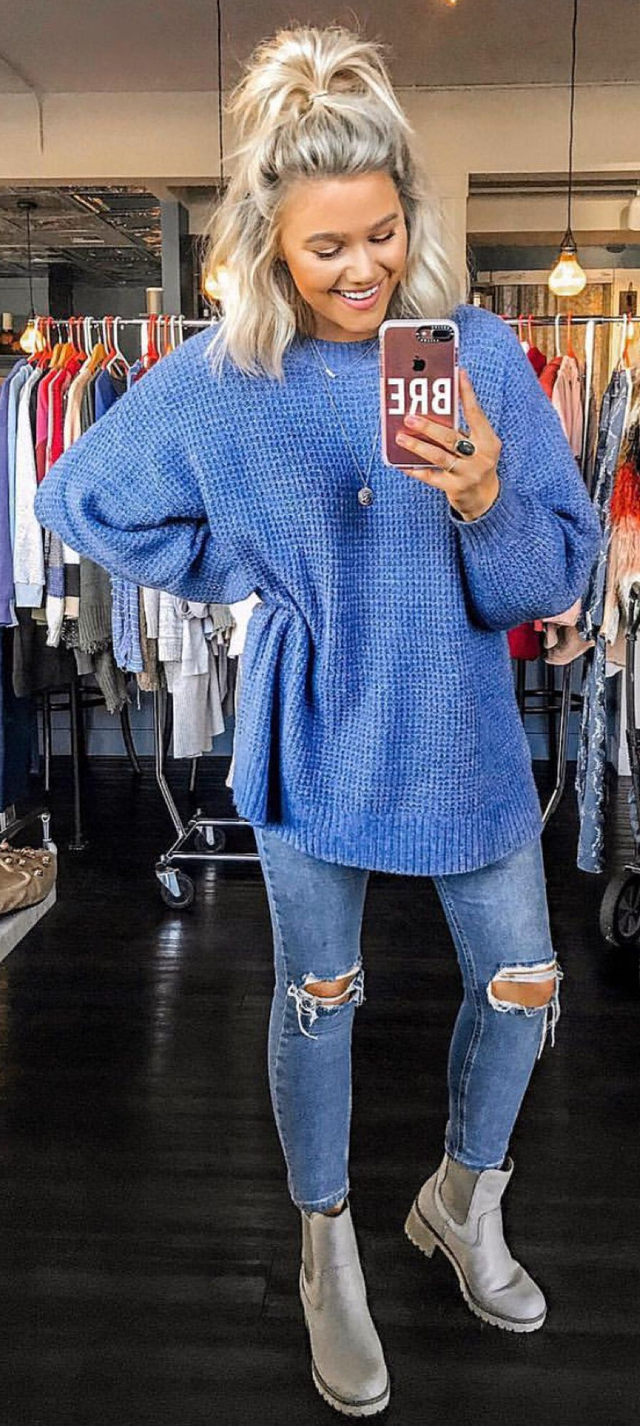 blue crew-neck sweater #spring #outfits