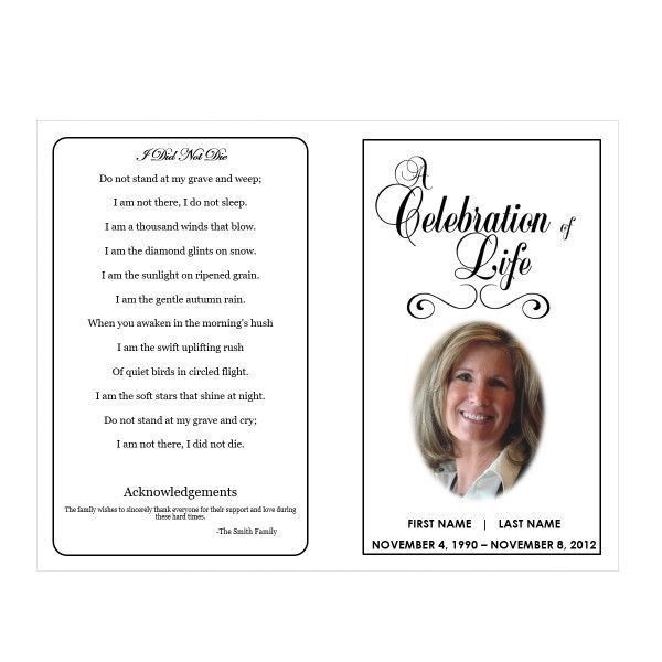 Free Funeral Announcement Template  Death Announcement Cards Free