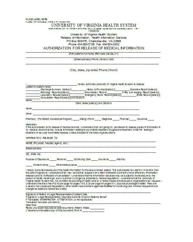 Medical Release Of Information Form Template Sample Medical - work release form