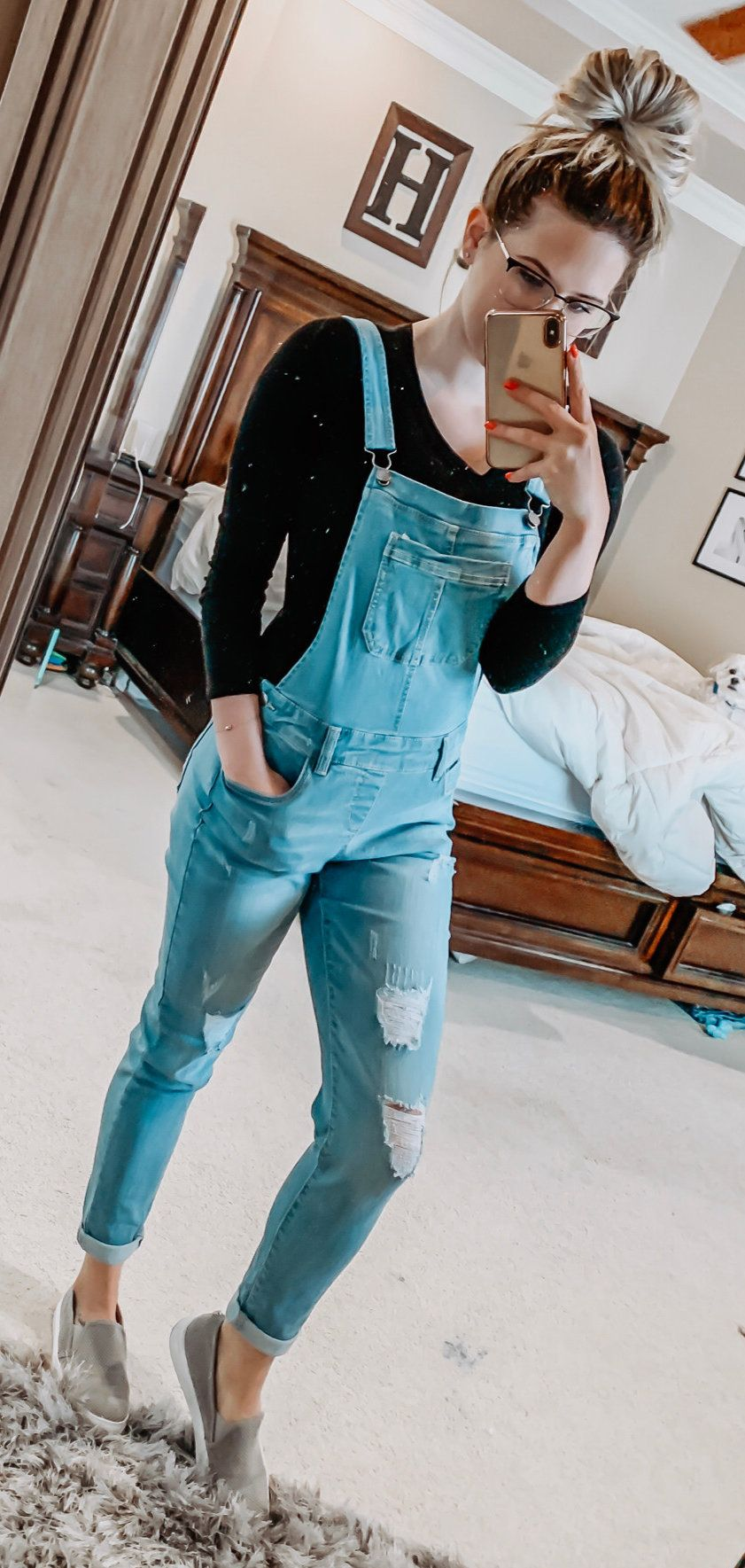 distressed blue overalls #spring #outfits