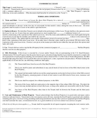 Commercial Property Lease Agreement Free Template 13 Commercial - property lease agreement sample