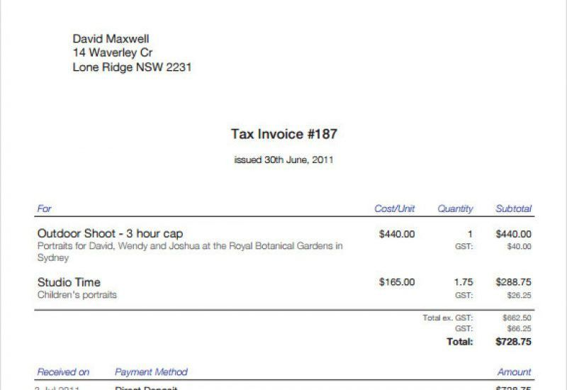 Invoice Template Samples Free Invoice Template For Excel, Free - photography invoice sample