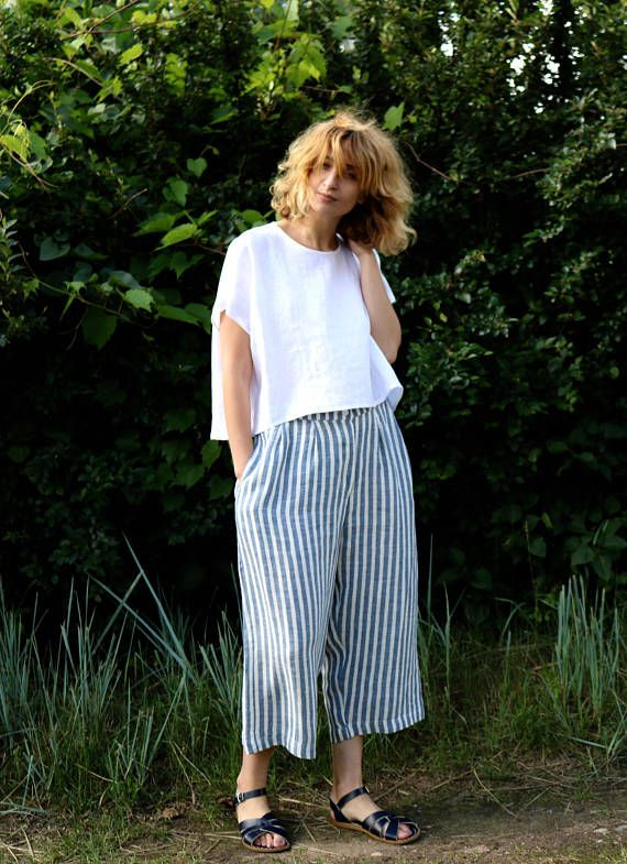 Striped Linen Culottes Linen Trousers Women Culottes