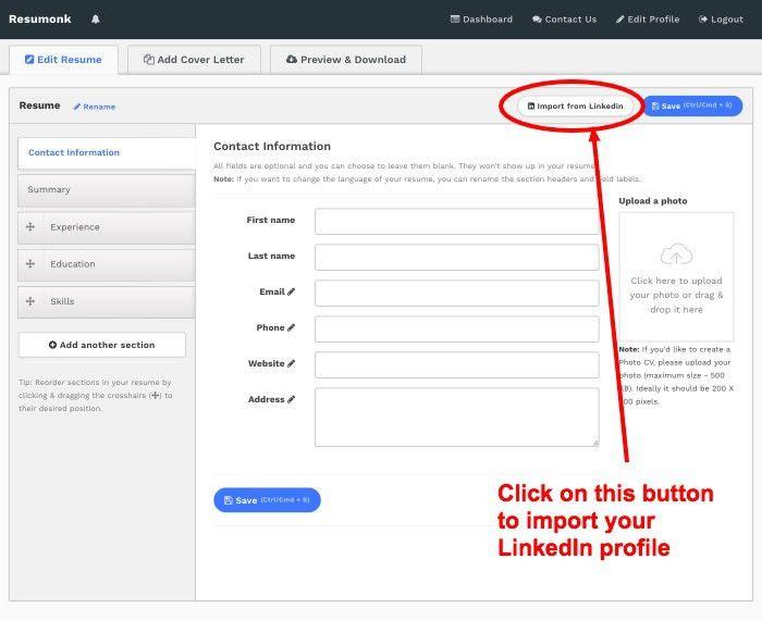 linkedin resume generator