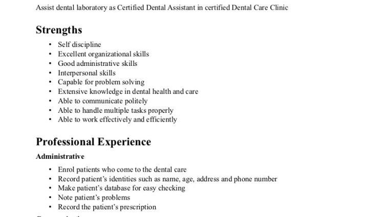 dental assistant resumes samples