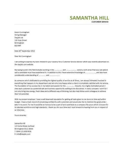 Resume And Cover Letter Service Service Cover Letter Example - cover letter example for customer service