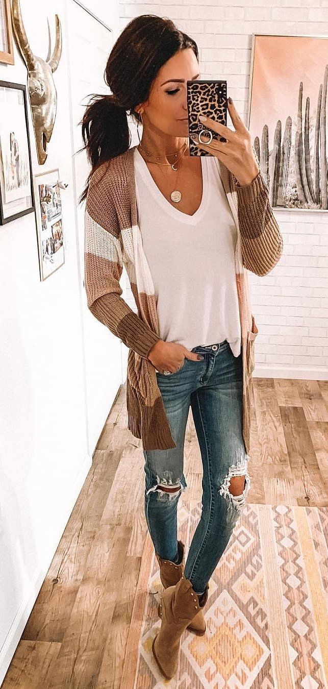 brown open cardigan #spring #outfits