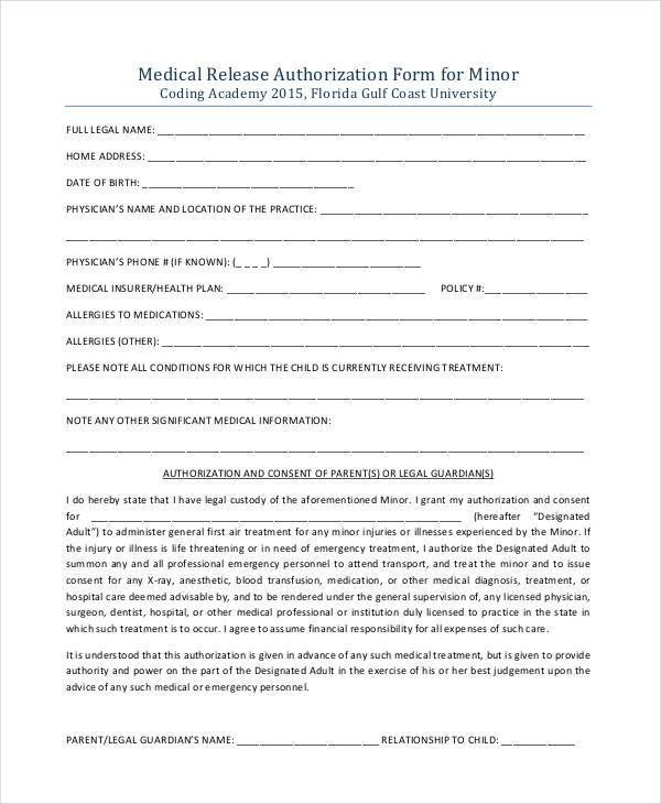 Authorization To Release Information Template Authorization To - medical information release form