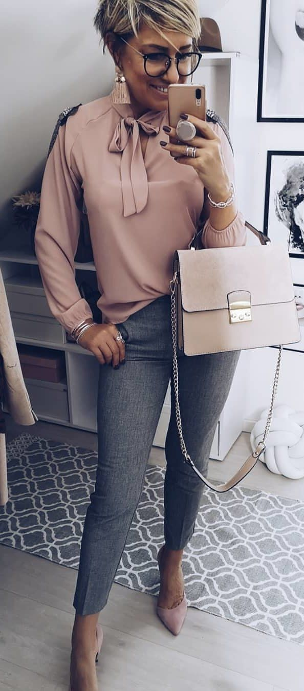 beige long-sleeved shirt and gray leggings #spring #outfits