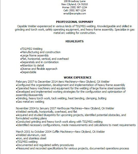rig welder sample resume