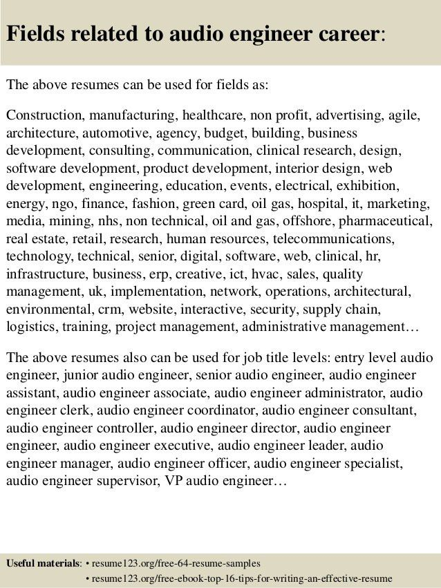 audio engineer resume samples