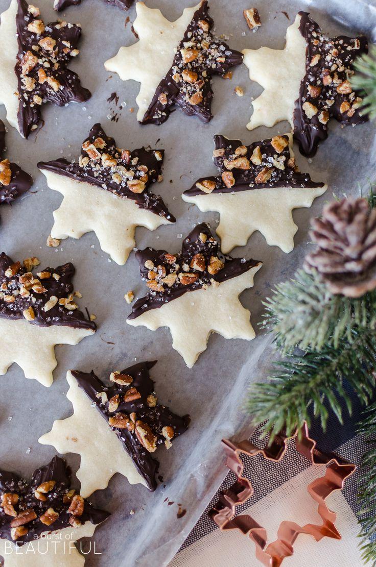 Pecan Chocolate Dipped Shortbread Cookies