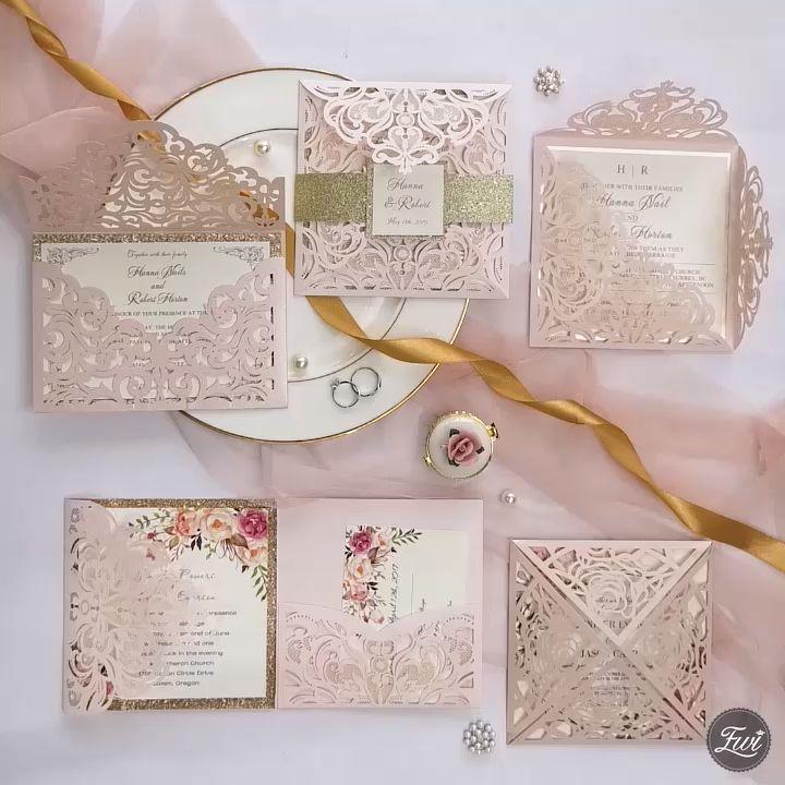 ElegantWeddingInvites Blush Pink Laser Cut Wedding Invitation Collection
