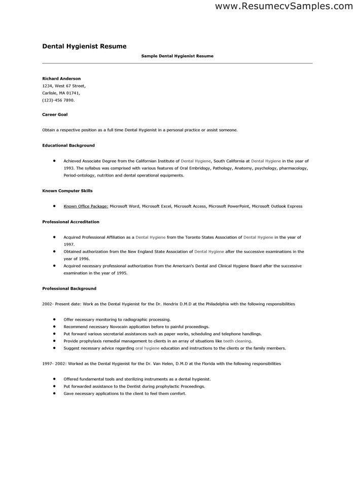 Dental Hygienist Resume Example Dental Hygienist Resume Sample - resume examples for dental assistant