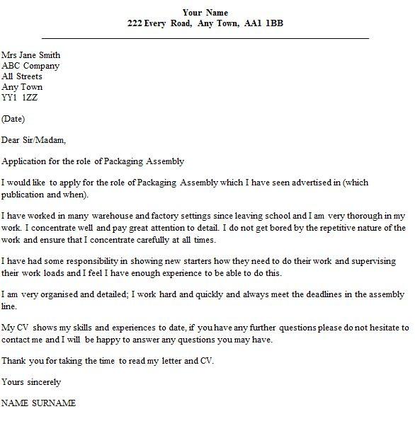 Assembly Worker Cover Letter Env1198748resumecloud