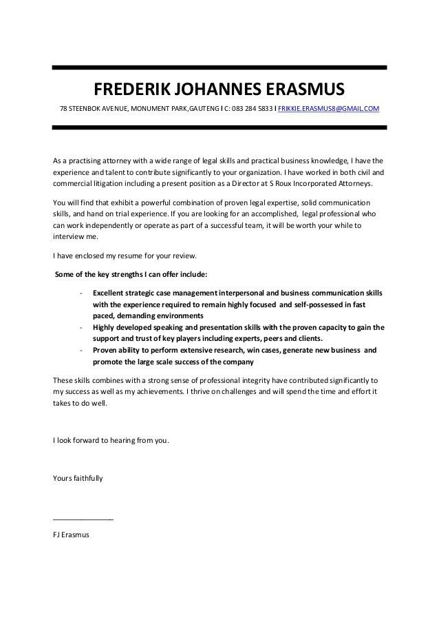 Litigation Lawyer Cover Letter | Env 1198748 Resume.cloud .