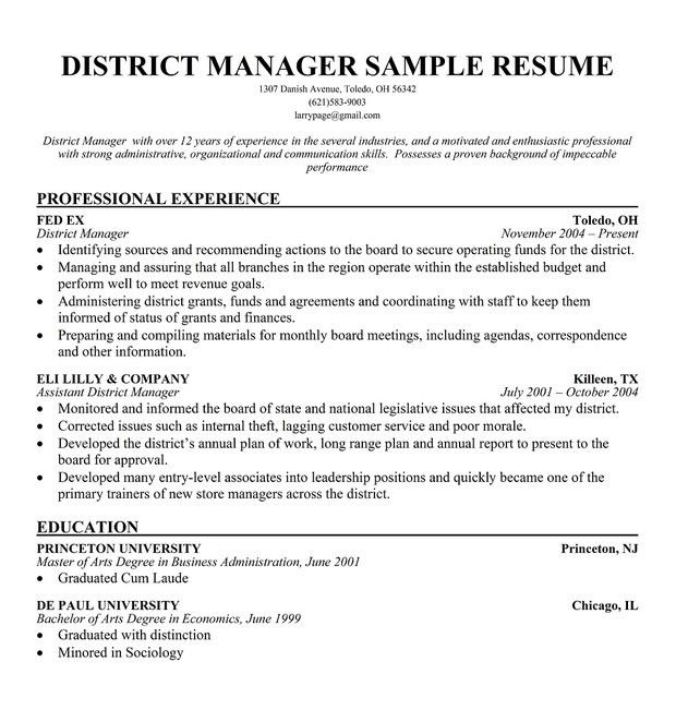 cover letters for district managers - Ibovjonathandedecker