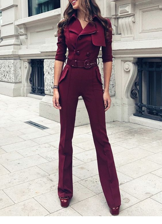 Cool burgundy jumpsuit for office